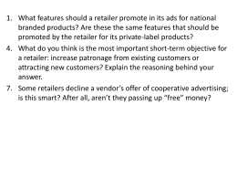 What features should a retailer promote in its ads for national