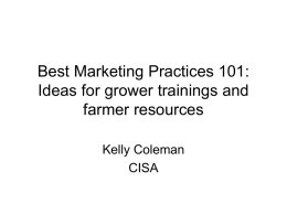 Best Marketing Practices 101: Ideas for grower trainings and farmer