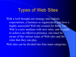 Types of Web Sites - RM-A