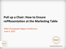Pull up a Chair: How to Ensure RePResentation at the Marketing