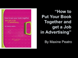 """How to Put Your Book Together and get a Job in Advertising"""