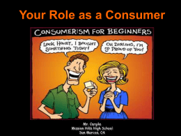 Your Role as a Consumer - San Marcos Unified School District