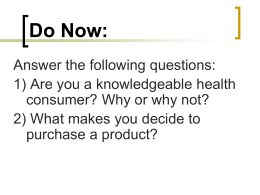 Chapter 3—Being a Health Literate Consumer