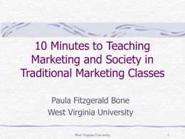 10 Minutes to Teaching Marketing and Society in Traditional