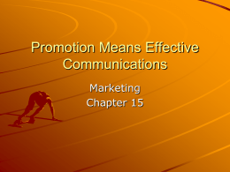 Promotion Means Effective Communications