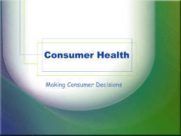 Consumer Health - Fort Thomas Independent Schools