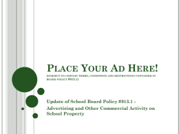 Update of School Board Policy #913.1 - Pine