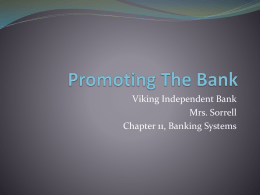 Promoting The Bank - Rowan County Schools