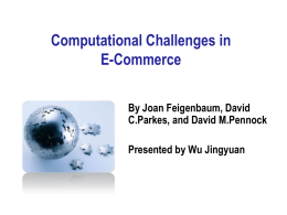 Computational Challenges in E-Commerce