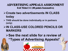 Exit Ticket 3-1: Advertising Appeals Lesson