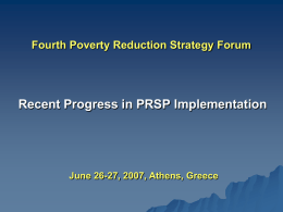 The Second Poverty Reduction Strategy Forum