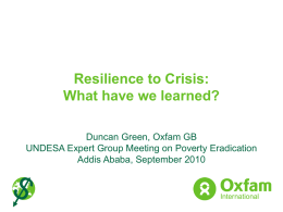 Resilience to Crisis: What have we learned?