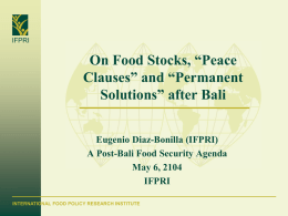 Diaz-Bonilla Presentation - International Food & Agricultural Trade