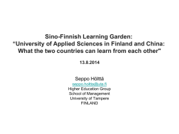 The Finnish Innovation System The Role of Higher Education