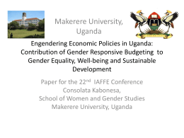 Engendering Economic Policies in Uganda