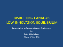 Disrupting Canadas Low-Innovation Equilibrium