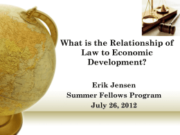 What is the Relationship of Law to Economic Development?