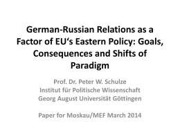 German-Russian Relations as a Factor of EU's Eastern