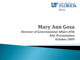 Mary Ann Gosa Director of Governmental Affairs Institute