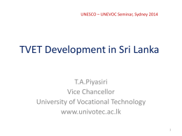 TVET Developments in Sri Lanka