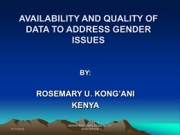 AVAILABILITY AND QUALITY OF DATA TO ADDRESS GENDER …