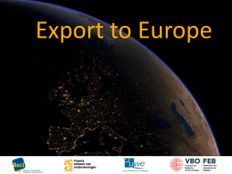 Export to Europe - Brussels Metropolitan