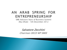 AN ARAB SPRING FOR ENTREPRENEURSHIP SME Advisors …