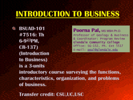 Introduction to Business - Glendale Community College