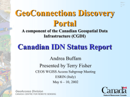 Examples of Statistics Canada and GeoAccess Division