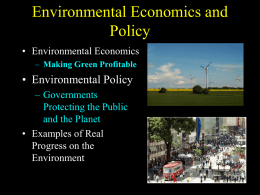 Environmental Economics and Policy