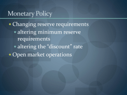 Monetary Policy - Diablo Valley College