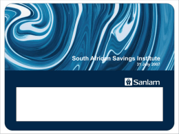 TITLE SLIDE OPTION 1 - The South African Savings Institute