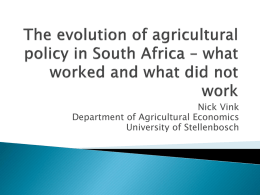 The evolution of agricultural policy in South Africa