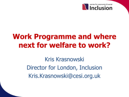 LSEO and welfare to work in London