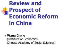 Economic Development and Economic Reform in China Wang