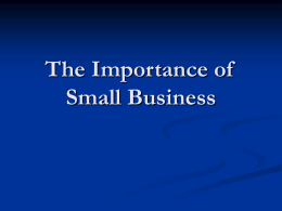 The Importance of Small Business