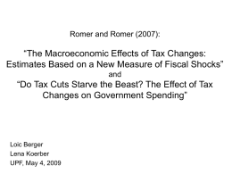 Romer and Romer (2007): The Macroeconomic Effects of Tax