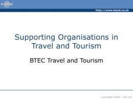 ###Supporting Organisations in Travel and Tourism