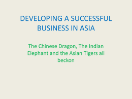 DEVELOPING A SUCCESSFUL BUSINESS IN ASIA
