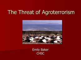 The Threat of Agroterrorism