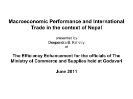 Macroeconomic Performance an d International Trade