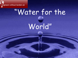 What do we use water for? - Engineers Without Borders UK