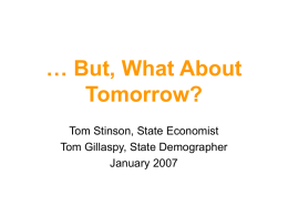 But, What About Tomorrow? - 85th Minnesota Legislature