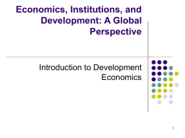 Principles and Concepts: Economic Development