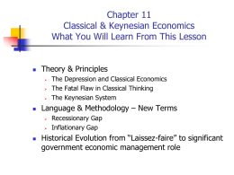 Chapter 11 Classical & Keynesian Economics What You Will Learn