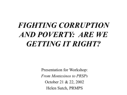 fighting corruption and poverty– our approach so far