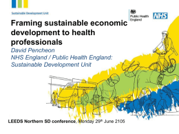 Framing sustainable economic development to health professionals