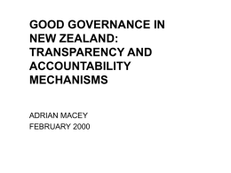 GOOD GOVERNANCE IN NEW ZEALAND: TRANSPARENCY AND