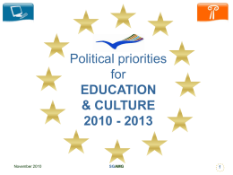 Political priorities for EDUCATION & CULTURE 2010