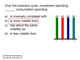Over the business cycle, investment spending ______ consumption